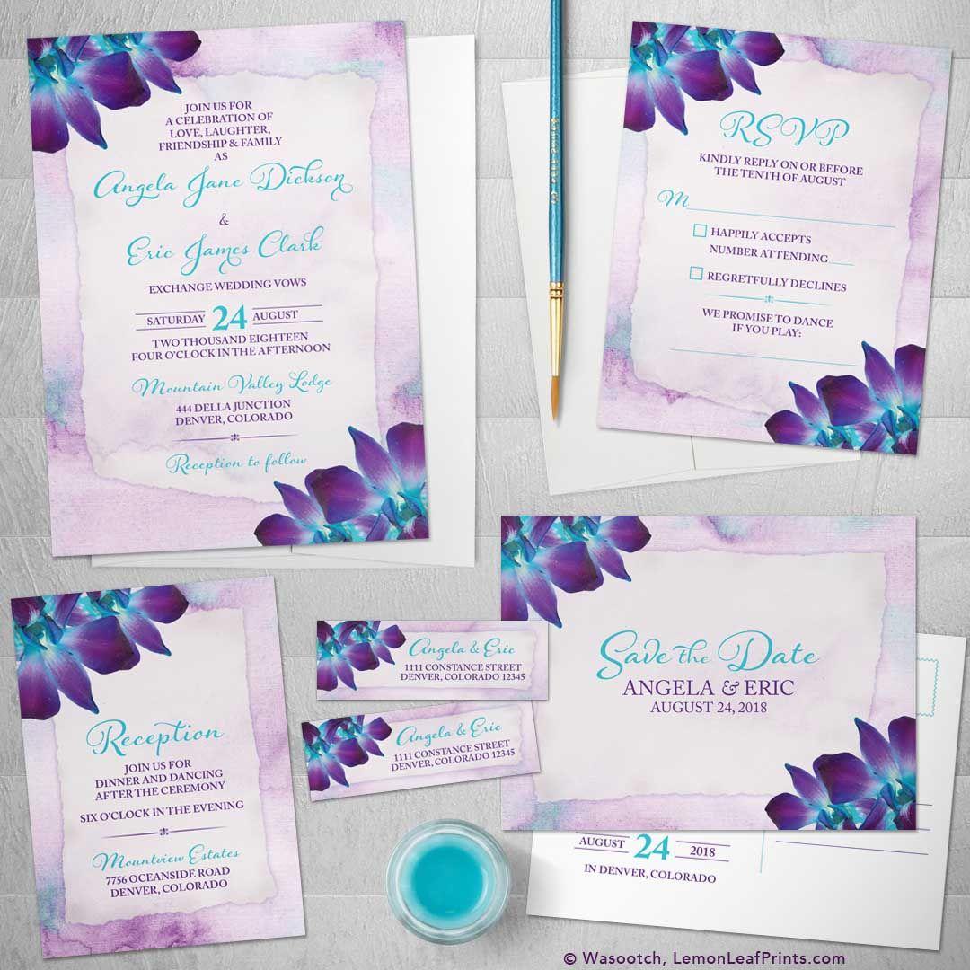 Dendrobium Orchid Wedding Invitation Set Purple And