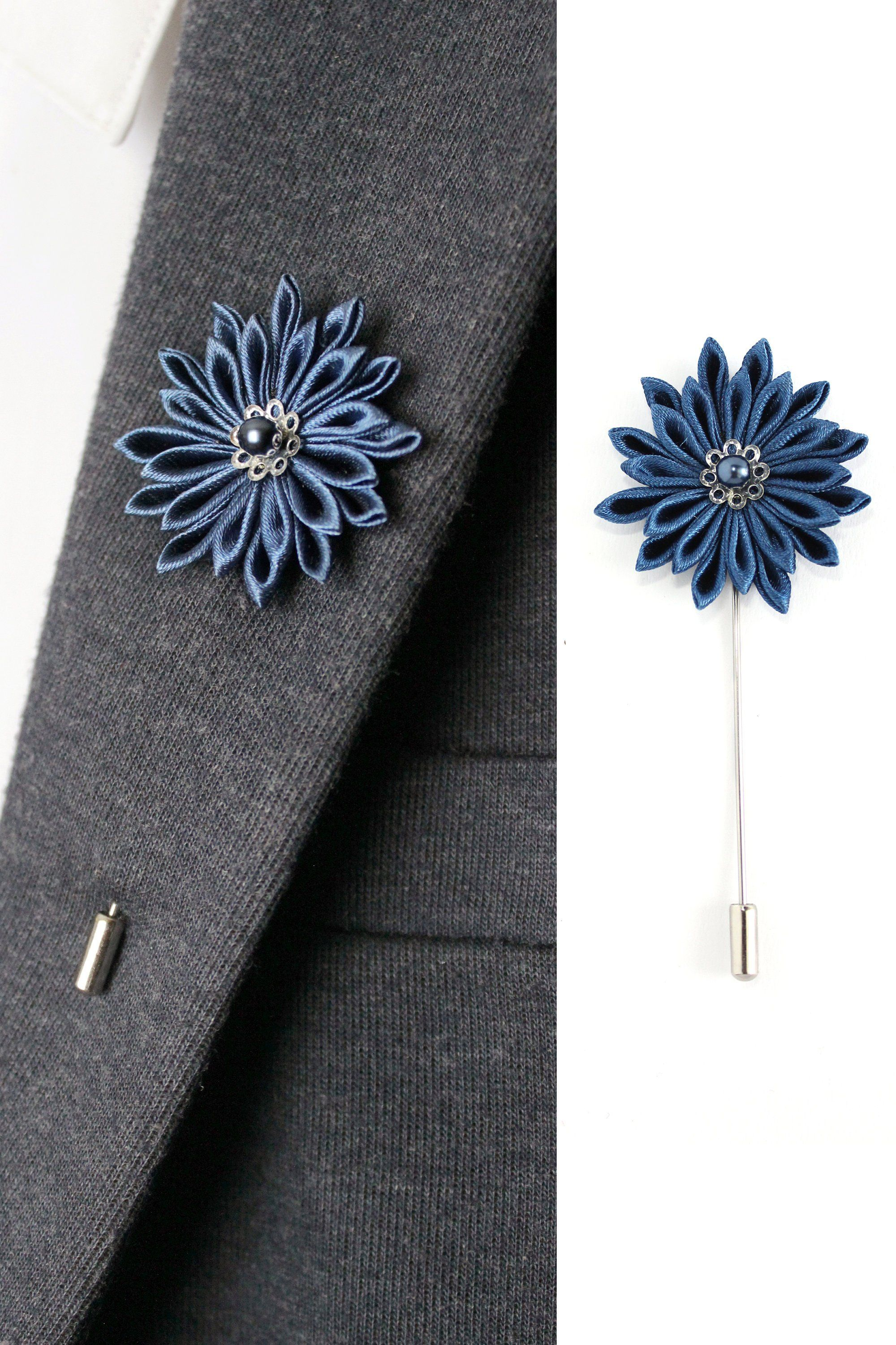 Purple Textured Satin Lapel Flower Pin by The Accessorized Man