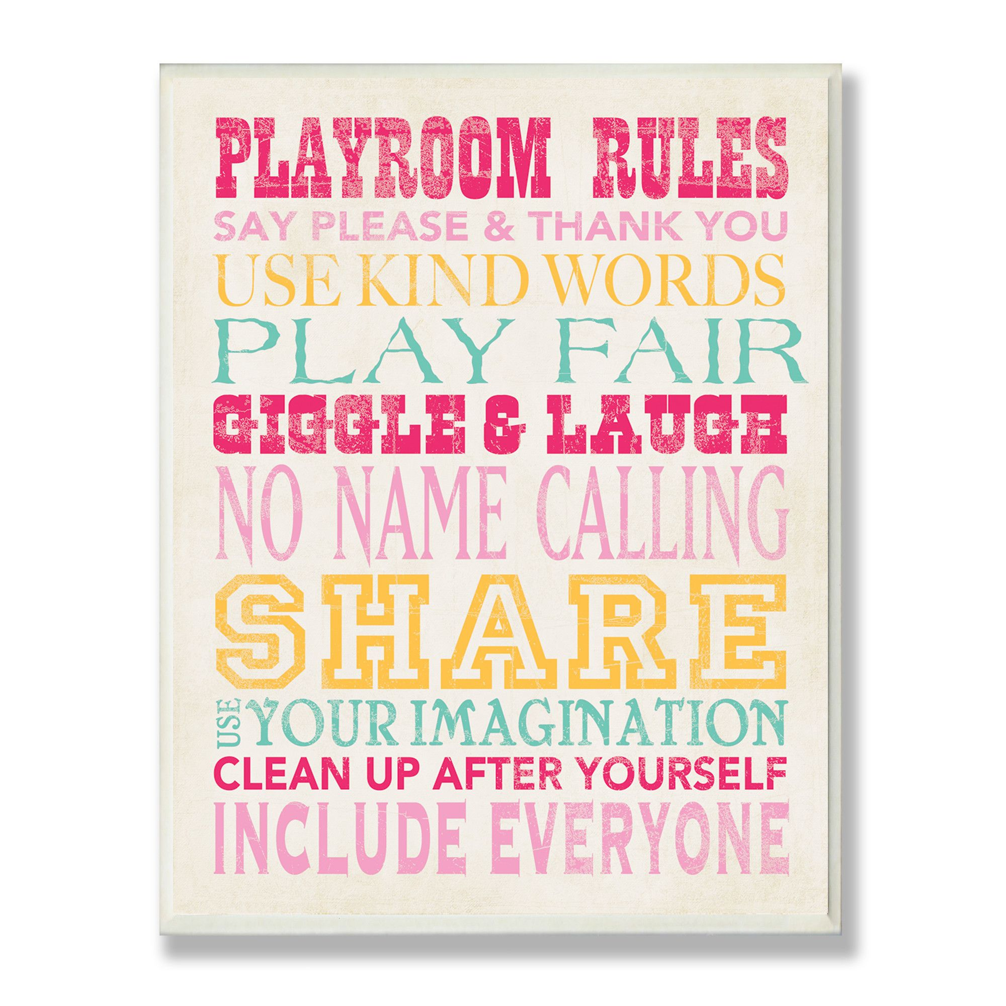 Stupell Industries The Kids Room Pink Playroom Rules Typography Rectangle Wall Plaque
