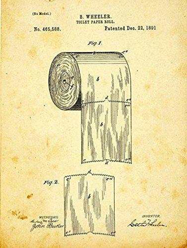 Toilet Paper Patent Drawing Metal Sign, Vintage, Bath, Bathroom ...