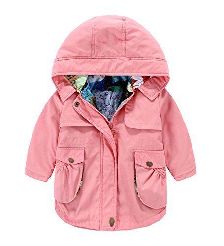 b2409ddb928f Tortor 1Bacha Little Girls  Zip Jacket Trench Coat with Hood