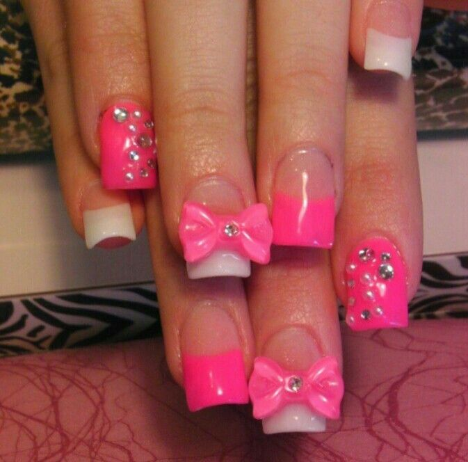 Pink n rhinestones nails n makeup pinterest manicure perms pink nails with bows polly prinsesfo Image collections