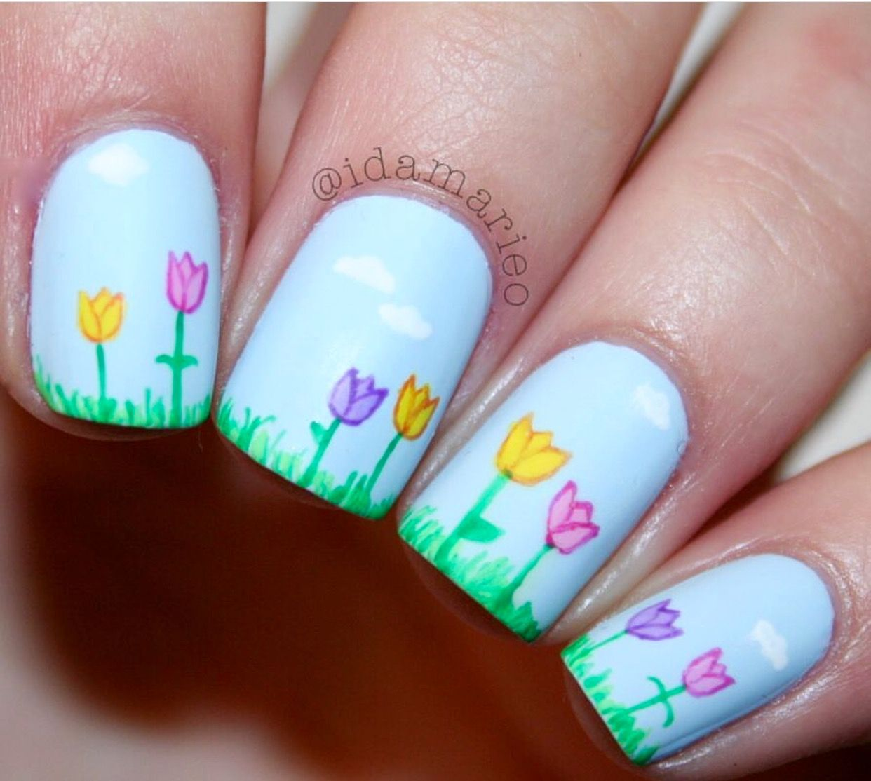 Spring Flower Nails Spring Nails Pinterest Flower Nails And