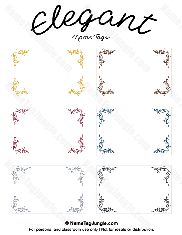 free printable elegant name tags the template can also be used for