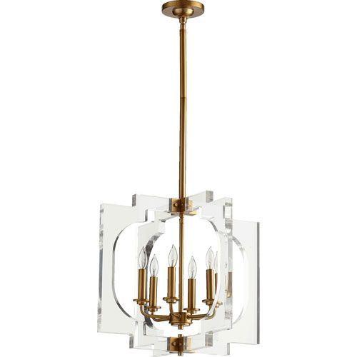 Broadway Aged Brass Six-Light Pendant