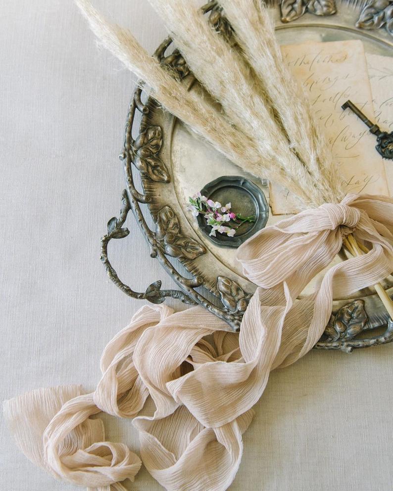 wedding favors Nude Silk Chiffon Ribbon; Hand-dyed Silk Ribbon; Wedding bridal bouquet wedding photography styling invitations