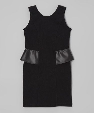 Another great find on #zulily! Black Twill Faux Leather Peplum Dress by Blush #zulilyfinds