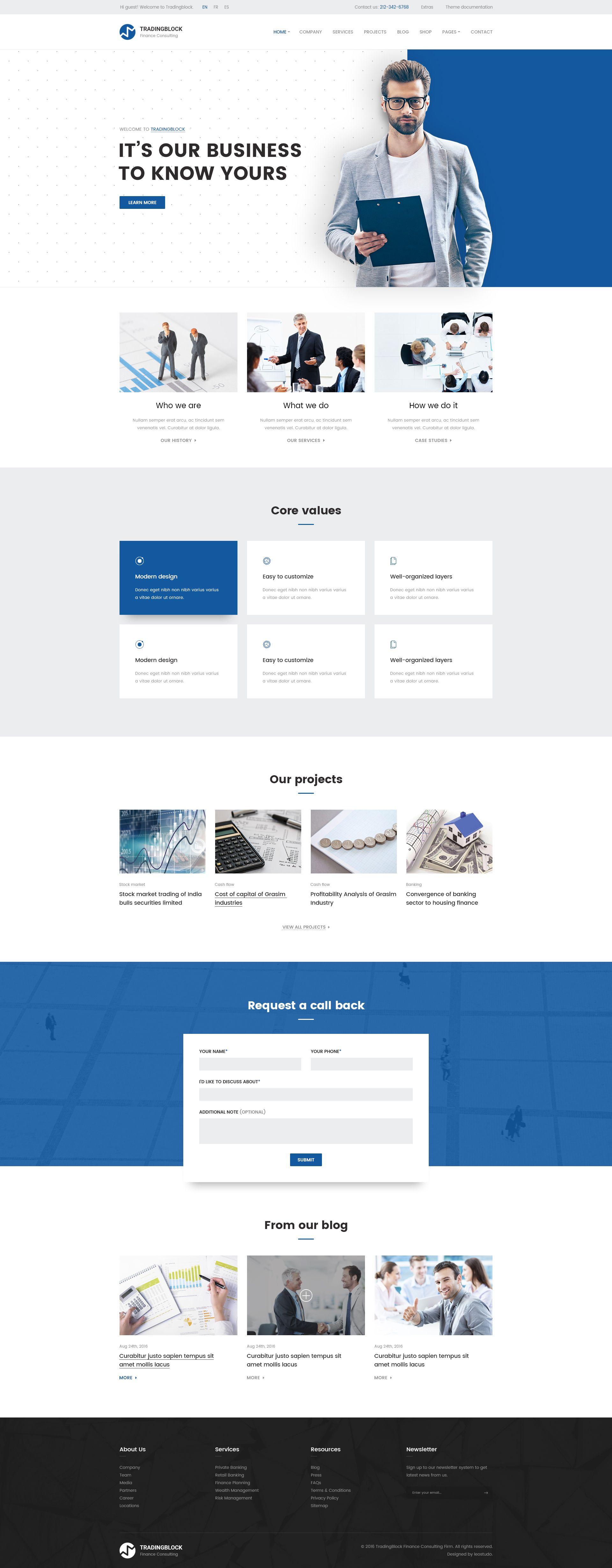 Finance Business Psd Template Tradingblock Web Design Web Layout Design Web Design Inspiration