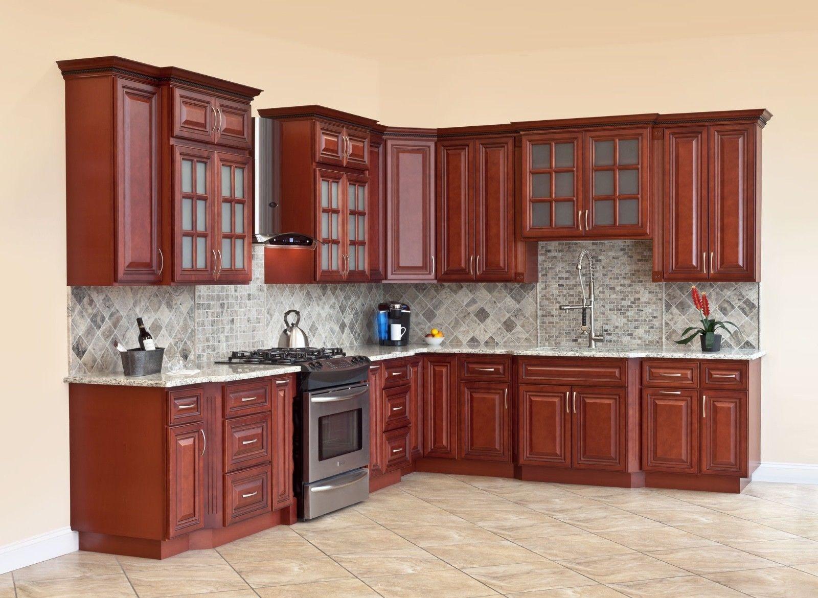 10x10 All Solid Wood Kitchen Cabinets Cherryville Rta 816124022480 Ebay Wood Kitchen Cabinets Solid Wood Kitchens Wood Kitchen