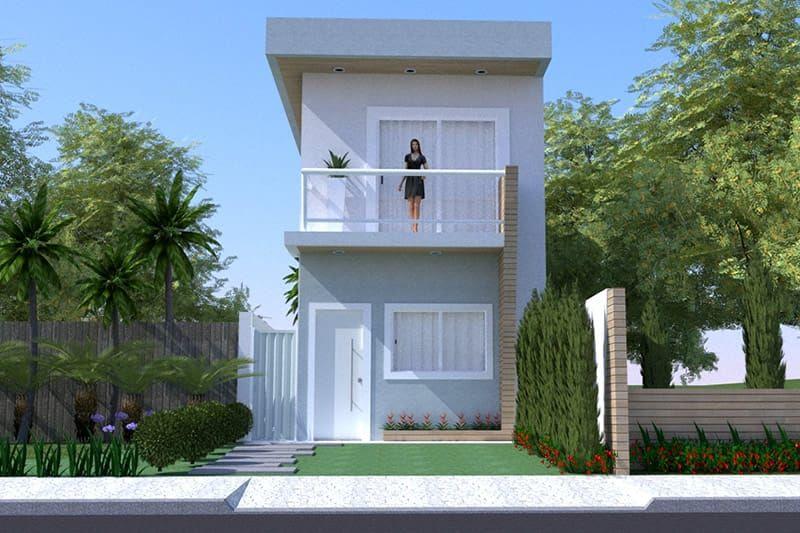 Um projeto planejado em um terreno com 5 metros de frente for Casa moderna 60 metros
