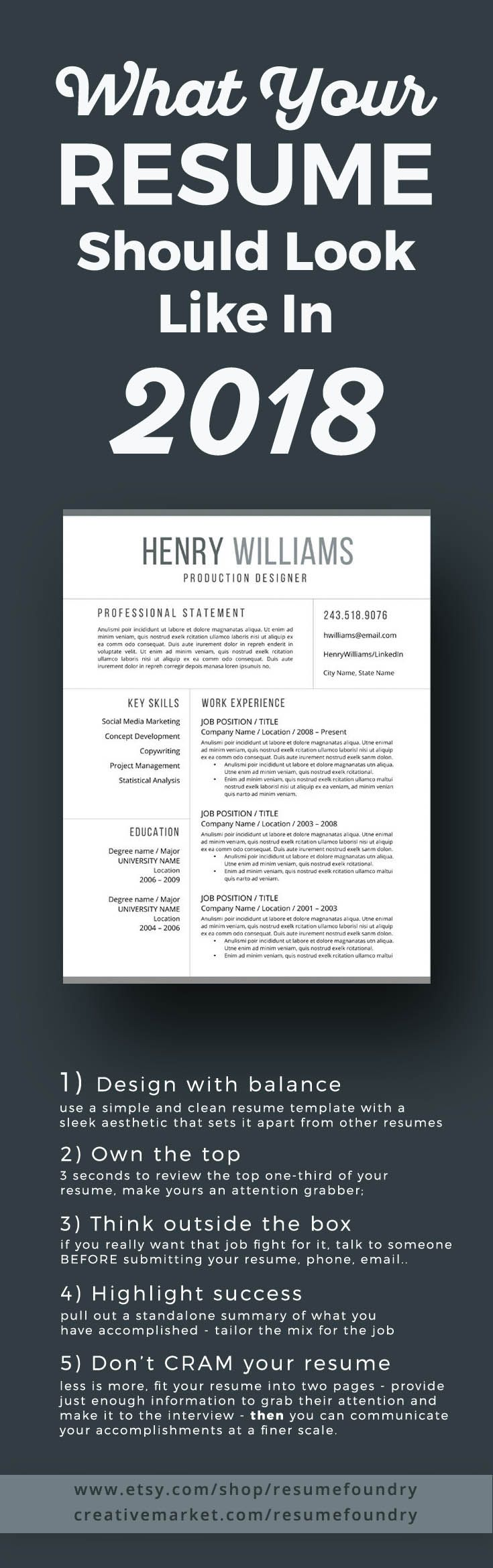 The New Look Of Resume Templates For 2018 Instant Download