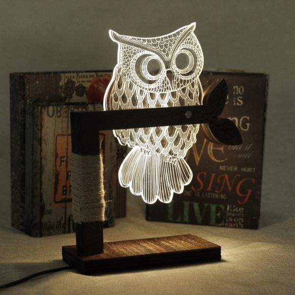 New Home 3D Owl Shape LED Desk Table Light Lamp Night Light