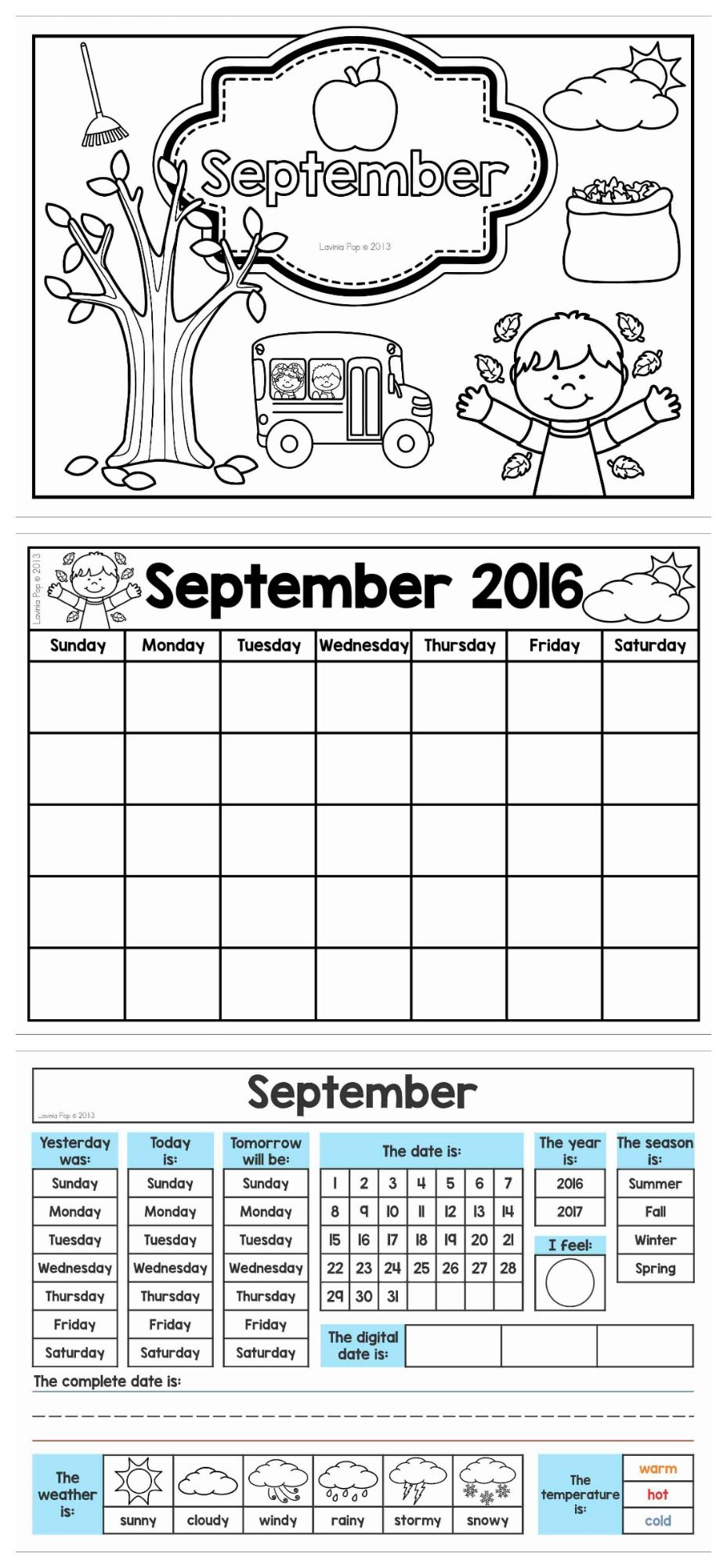 Calendar And Weather Journal Get The Pages For September Free When You Download The Preview Kindergarten Homeschool Kindergarten School Calendar