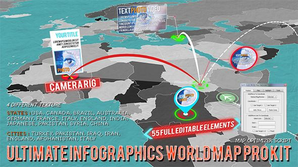 World map pro kit ultimate world map pro kit is designed for creating impressive video on world map easily and quickly 14 countries state maps 7 countries city maps are sciox Images