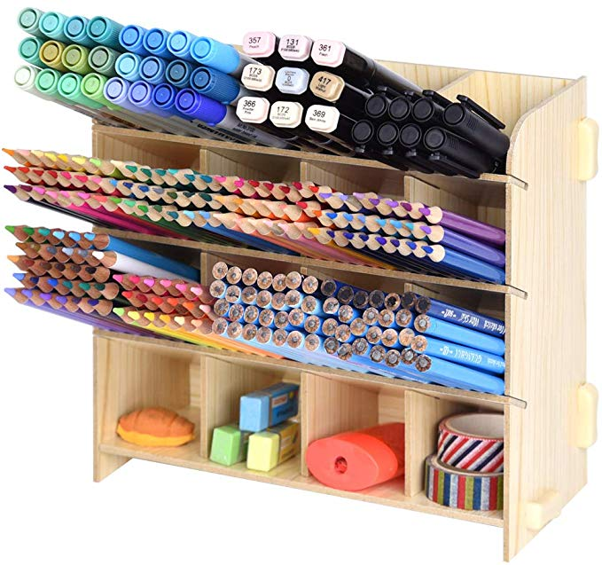 Amazon Com Wooden Desk Organizer Holds 240 Colored Pencils Large Capacity Pen Organizer Caddies For Office H In 2020 Pencil Storage Pen Organization Pen Storage