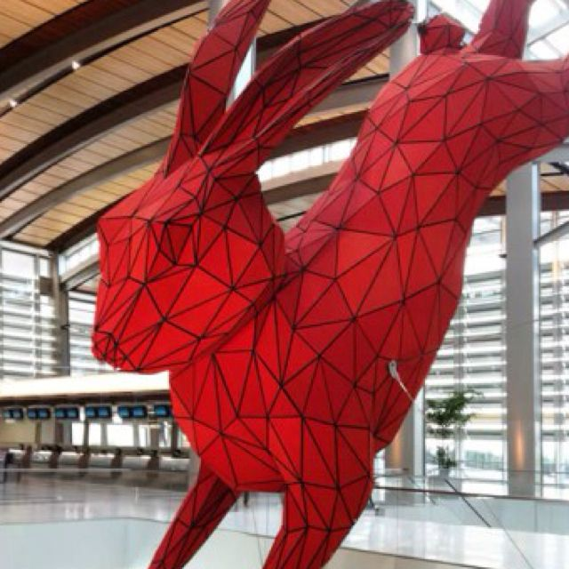 Colorado Convention Center With Lawrence Argent Sculpture: Big Red Rabbit Sculpture Leaping Down On Travelers At