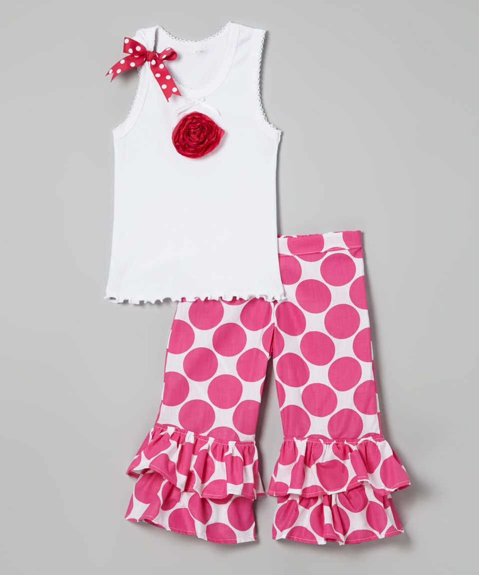 Another great find on #zulily! Beary Basics Hot Pink Rose Tank & Dot Ruffle Pants - Infant, Toddler & Girls by Beary Basics #zulilyfinds