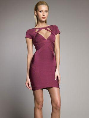 Herve Leger Purple Dress - Bandage Cap Sleeve Deep