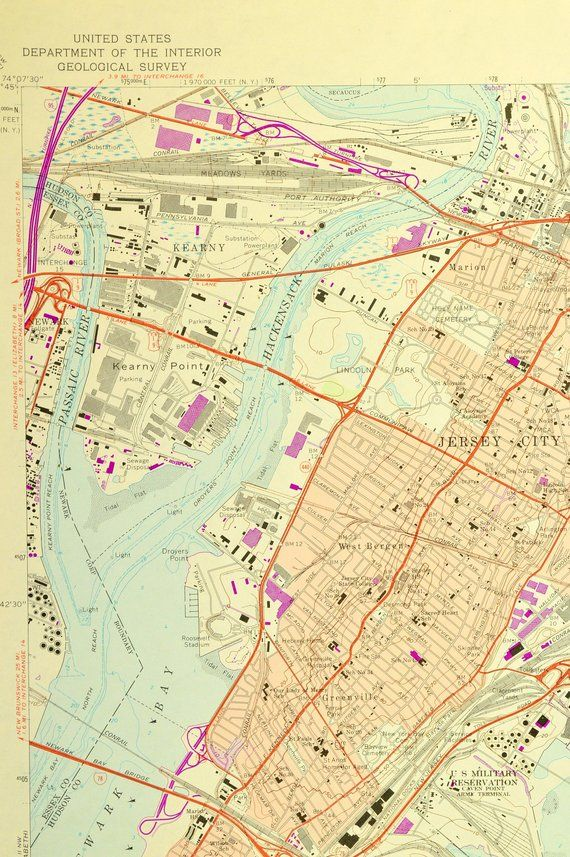 Map of New Jersey City /& environs Hudson County NJ circa 1879 by Welcke 24x32