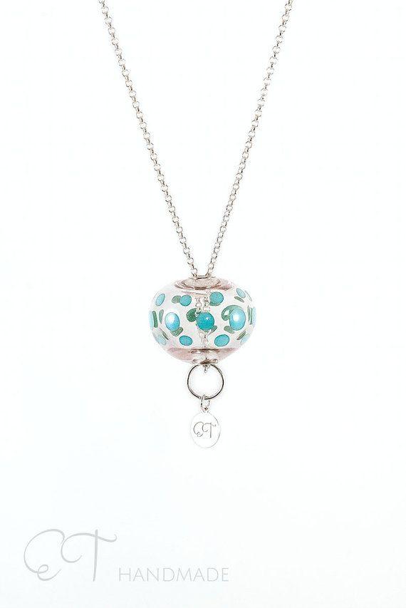 Collana ciondolo in Murano vetro argento collana di EThandmadeshop