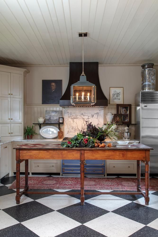 Urban electric lighting fabulous country kitchen with black and white checkered floor an old work table decorating in pinterest also rh