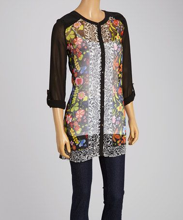 Look what I found on #zulily! Black Floral Button-Up Top #zulilyfinds
