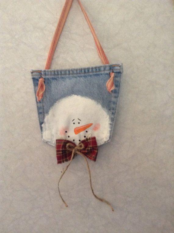 Primitive snowman blue jean pocket hanging Christmas ornament