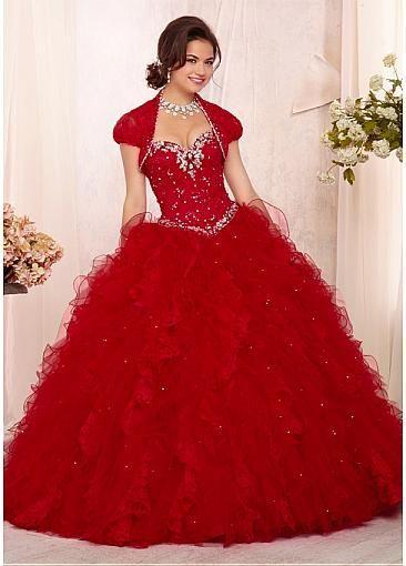 Vestidos de 15 rojos con pedreria