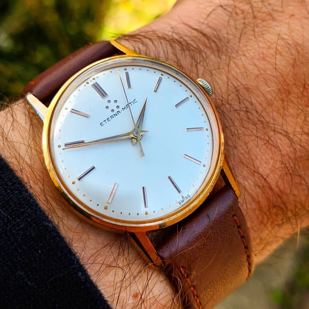 Splendid Vintage Gents Eterna Matic Gold Plated Wristwatch Cal 1414 C 1960 Stunning Condition Gold Plated Case Automatic Movement 295 00
