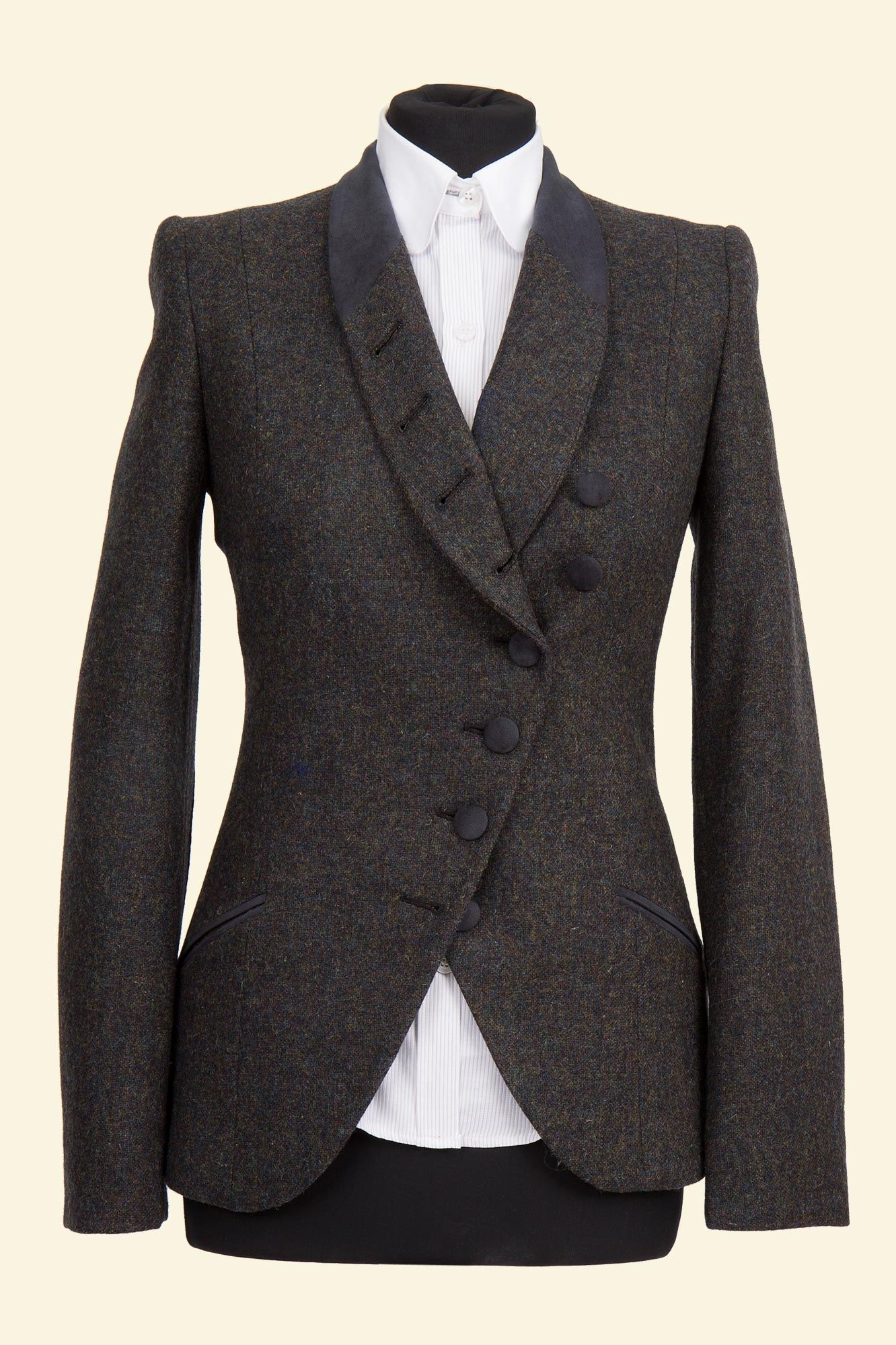Navy Shetland Donegal Tweed Emma Jacket - Walker Slater Tweed Specialists