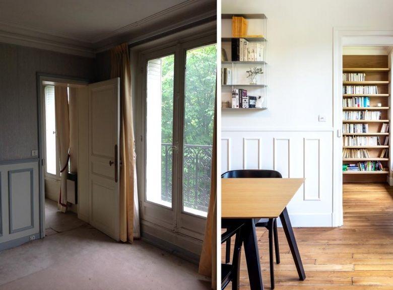 Un architecte d'intérieur améngage une bibliothéque dans un appartement