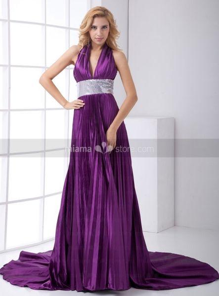 LINDA - Bridesmaid Cheap Princess Chapel train Printed satin Halter Wedding party dress