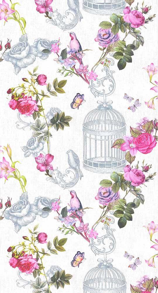 papier peint oiseaux et cage papier