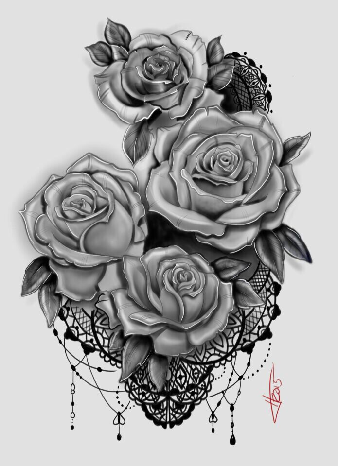 My Rose And Lace Tattoo Design Tattoo Ideas Tattoos Rose Tattoos Flower Tattoos