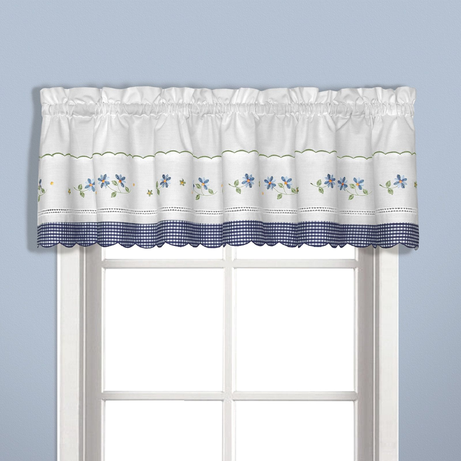 United Curtain Company Gingham 60 W X 14 L Straight Valance Blue
