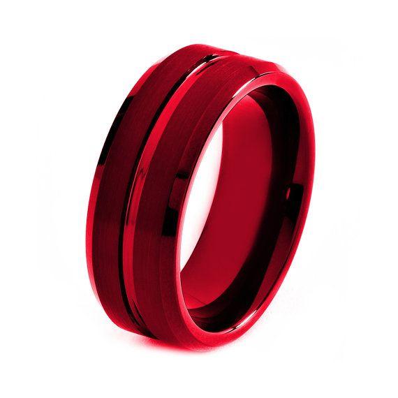 Red Titanium Ring Red Men Titanium Rings Red By