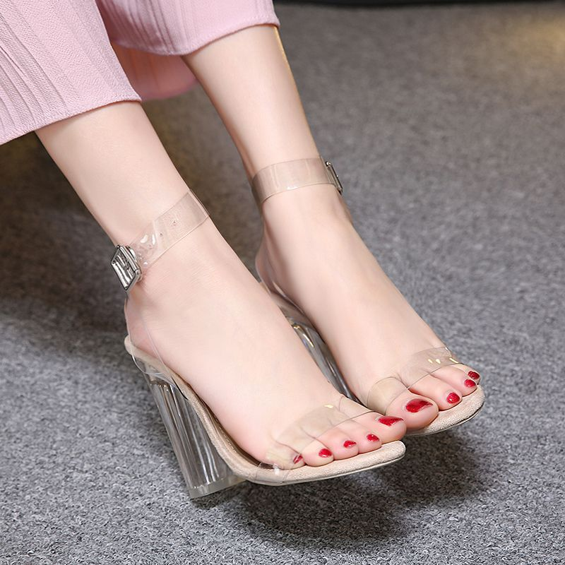 65710a7ce90713 luxury brand shoes women clear shoes summer sandals sexy Transparent heel  women sandals heels fashion transparent