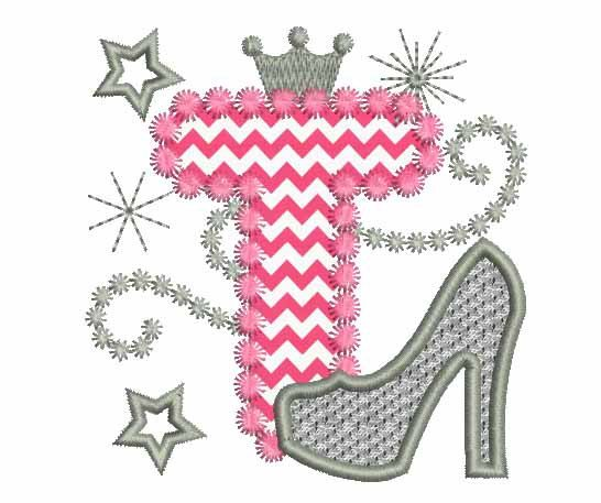 Pink silver letter t high heel shoe for cute by for Letter t decoration