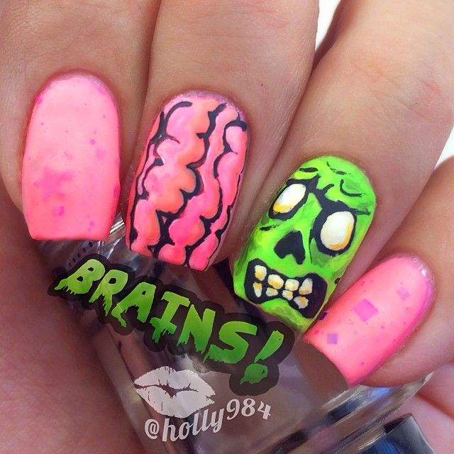 zombie nail polish art try doing this one day! Looks fun nails brain face  pink green - Instagram Photo By Holly984 #nail #nails #nailart Nail