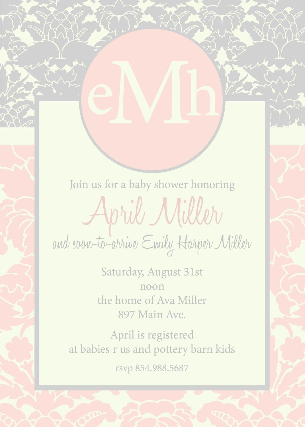 April- Custom Damask Baby Shower Invitation | Oh Baby! | Pinterest ...