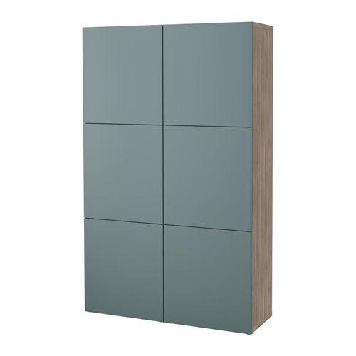 Best storage combination with doors walnut effect light - Walnut effect living room furniture ...