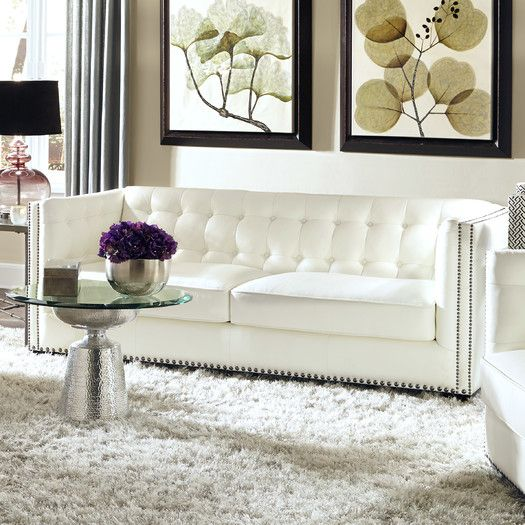 Everett Tufted Leather Settee In 2019: Lazzaro Leather Belaire Leather Sofa