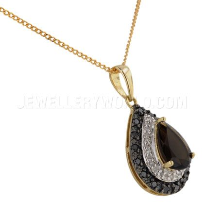 Smoky Quartz 9ct Gold Teardrop Pendant