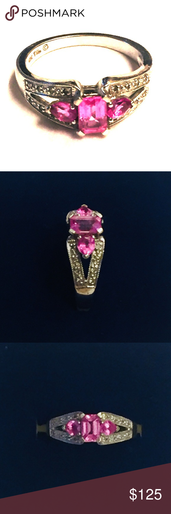 Samuel Aaron 10k White Gold Pink Sapphire Ring 7 Pink Sapphire Ring Pink Sapphire White Gold
