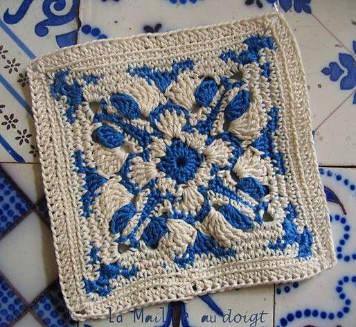 Бабушкин квадрат - Гжель