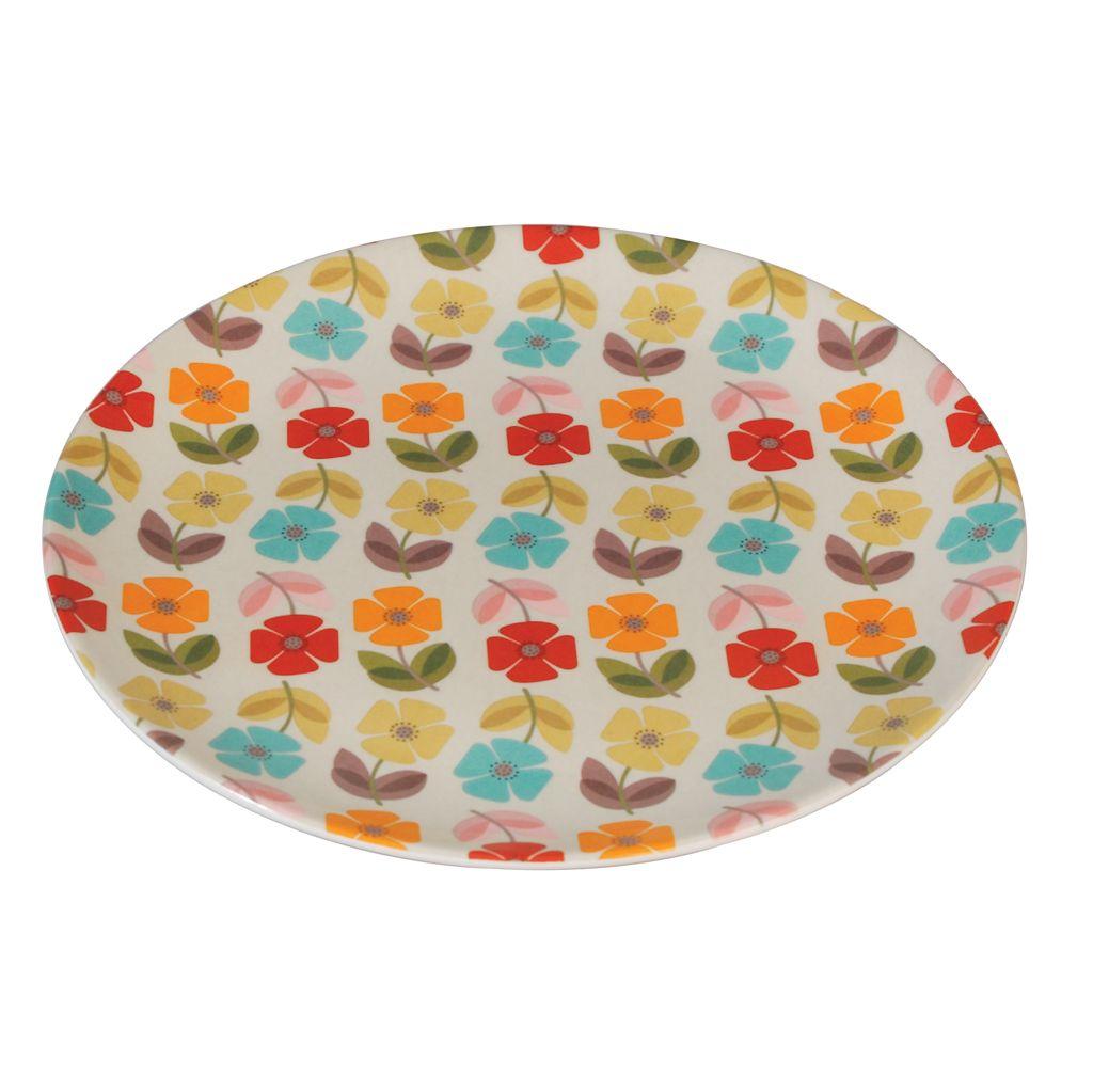 Melamine Plate Mid Century Poppy   DotComGiftShop