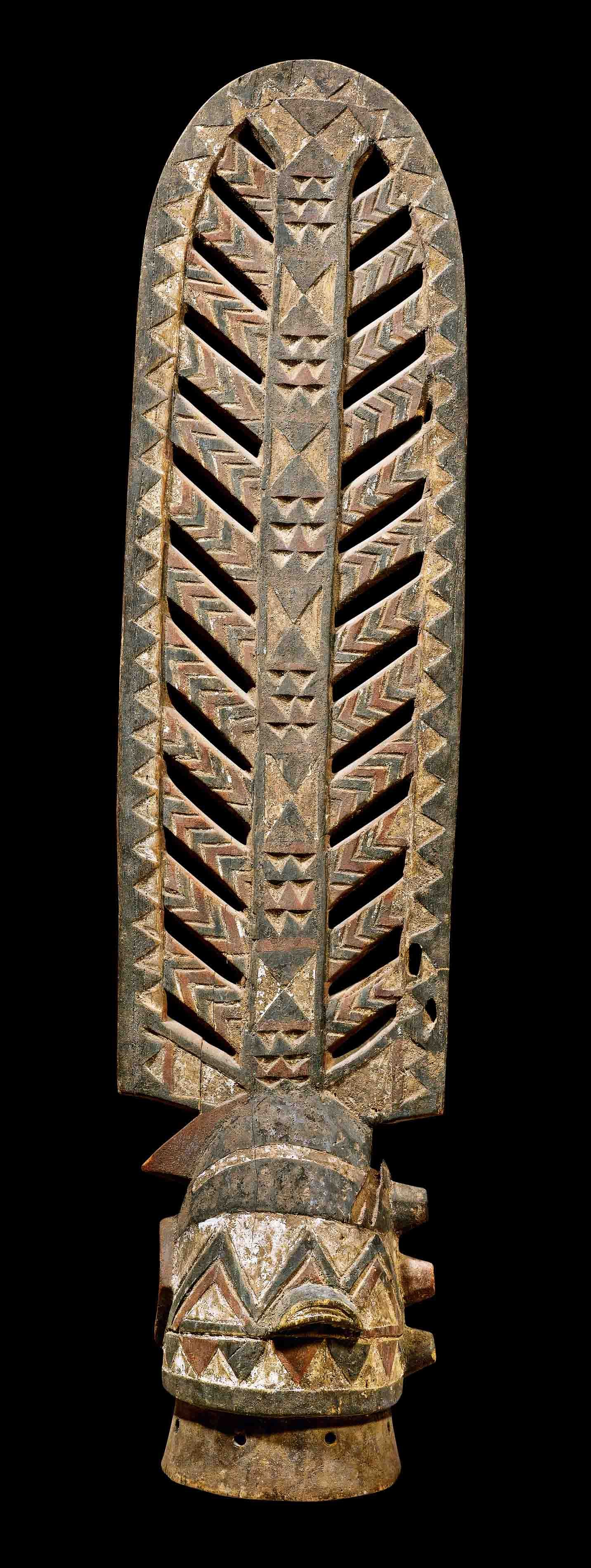 Africa | Headdress/mask from the Bwa people of Burkina Faso | Wood and pigment