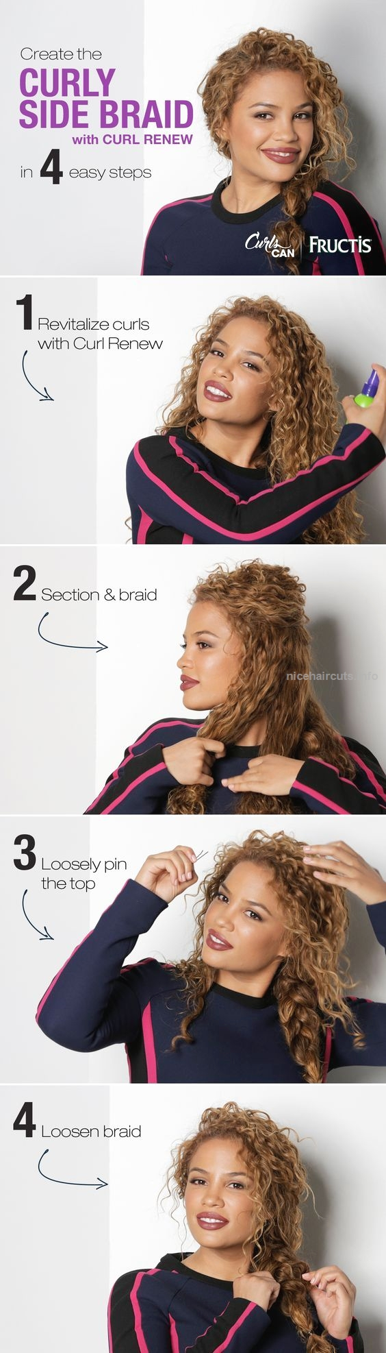 2017 05 side curls hairstyles - Curly Side Braid Curly Hair Is Perfect For A Messy Braid Watch Andrea S Choice Create This Simple Curly Side Braid Hairstyle Using Curl Renew Spray To