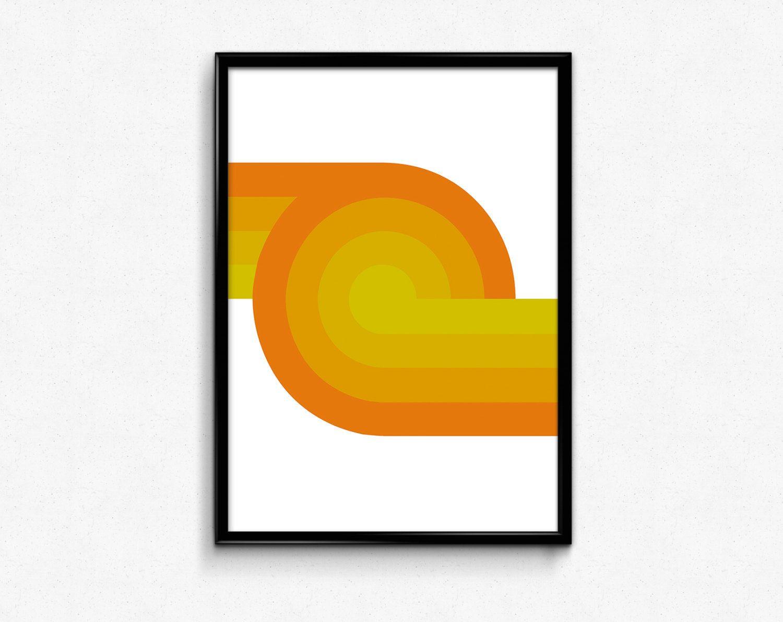 Mid Century modern art, Yellow Print, Geometric Art Print, Wall ...