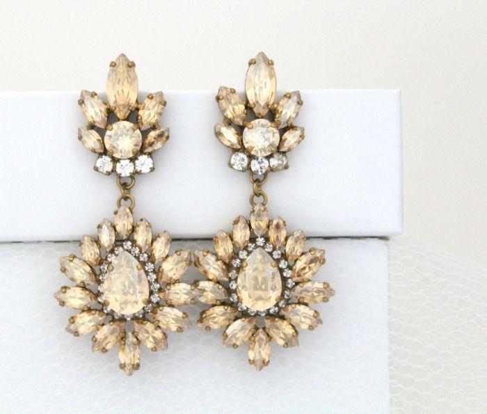 Swarovski Crystal Golden Shadow Earrings